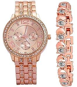 ZUPERIA Diamond Studded Stylish Analogue Watch with Rose Gold Dot Bracelet for Girls & Women