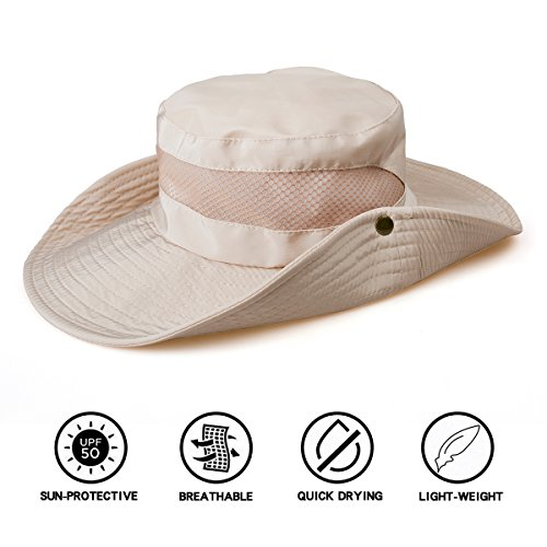 TAMINGTON Outdoor Boonie Sun Hat Wide Brim Breathable Solar Protection UPF  50+ Sun Cap Fishing 84fd09fc934f