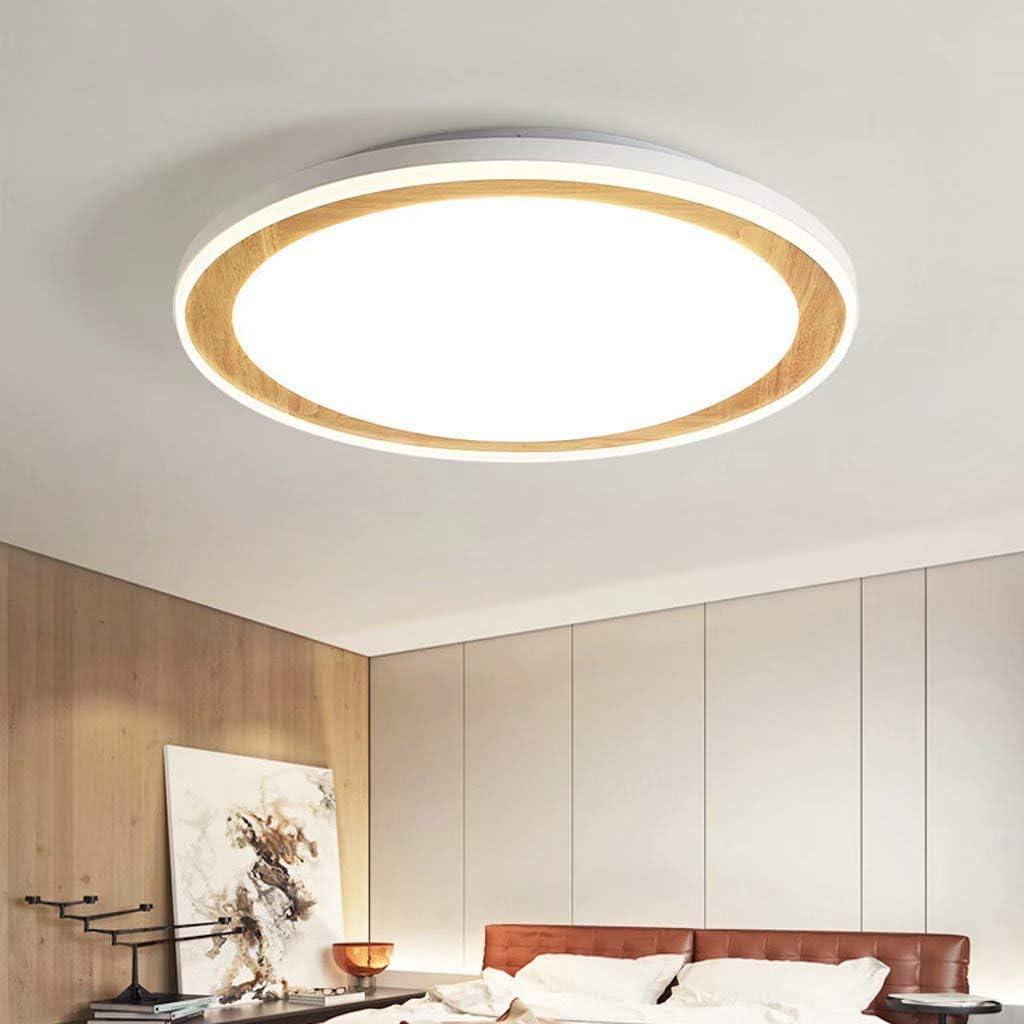 TMPJJ Nordic Solid Wood New Living Room Ceiling lamp Stepless dimming Round Modern Minimalist Led Interior Lighting 18 watts 45cm