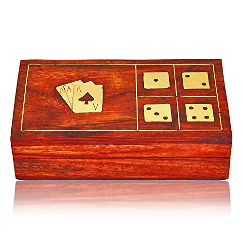 Unique Birthday Gift Ideas Handcrafted Classic Wooden Playing Card Holder Deck Box Storage Case Organizer With Dice & Single Pack of Premium Quality 'Ace' Playing Cards Anniversary Gifts For Him Her (Mini Artifice Playing Cards)