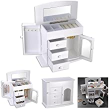 """Yescom 10-1/4"""" x 5-1/8"""" x 8-7/8"""" Jewelry Box Case Built-in Mirror Ring Earring Necklace Organizer Storage White"""