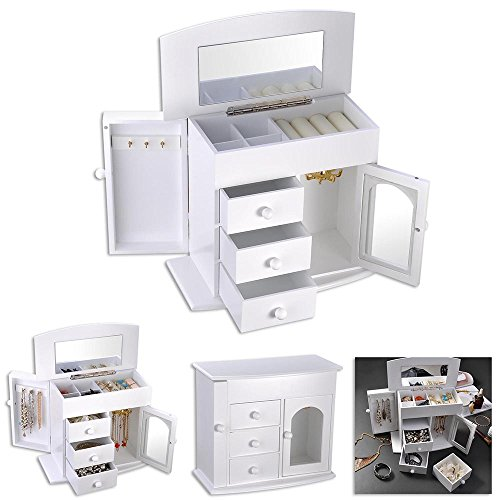 Yescom Wooden Jewelry Box Built-in Mirror Ring Earring Necklace Organizer Storage Case White ()