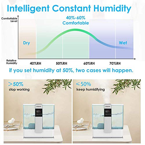 BOYON Cool Mist Humidifier 5L, Top Fill Humidifier with Humidistat, Remote Control, 3 Mist Settings and Auto Shut-Off, Humidifier for Large Room, Quiet Operation, Easy to Clean