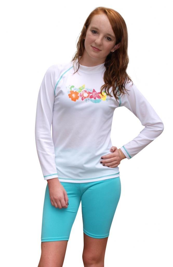 Sun Emporium Girls Long Sleeve UV Sun Protective Rash Guard Swim Shirt and Shorts 2 -piece Set- UPF/SPF Protection, Turquoise, 12