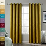 ChadMade Solid Matt Heavy Velvet Curtain Drape Panel Super Soft Nickel Grommet Fawn 50Wx96L Inch (Set of 2 Panels) BIRKIN Collection Theater| Bedroom| Living Room| Hotel Review