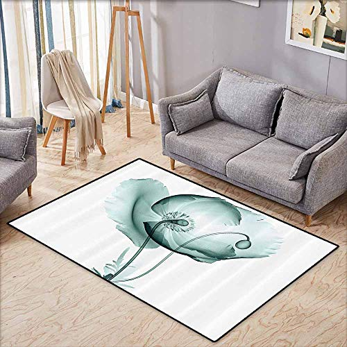 Outdoor Patio Rug,Xray Flower Decor Collection,Poppy Flower Blooms Floral Radiographs Unusual Rare Art Print Home Decoration,Anti-Slip Doormat Footpad Machine Washable,4'11