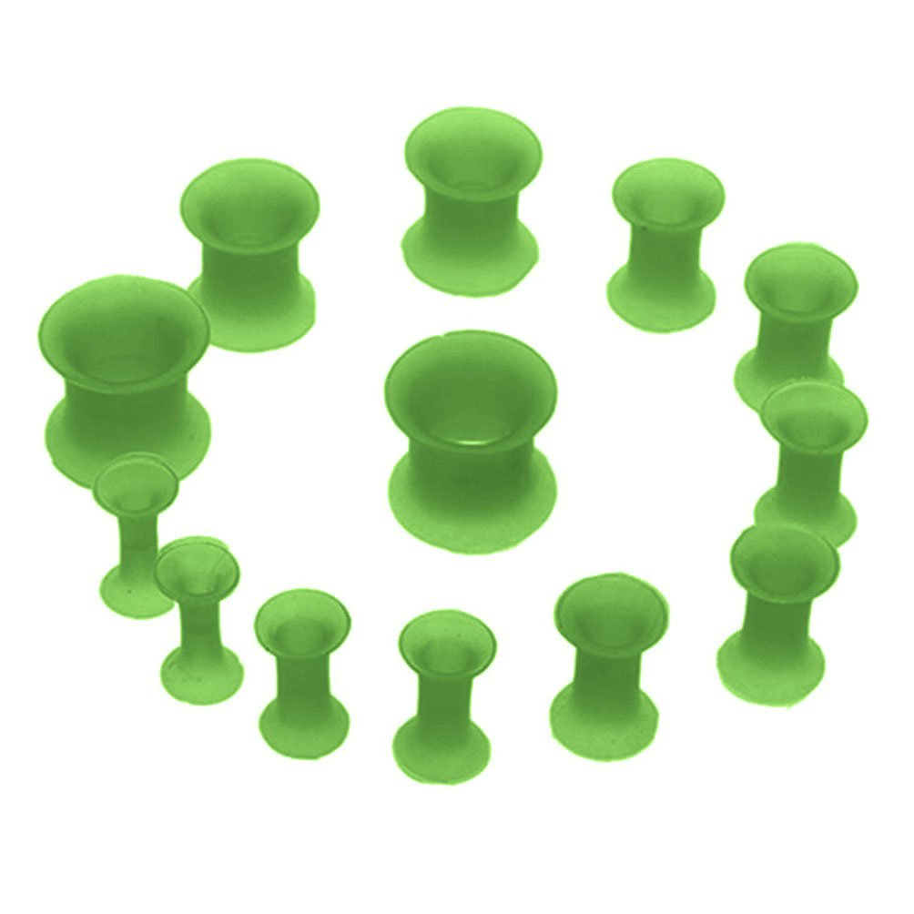 BodyJ4You Plug Kit Thin Double Flare Flexible Tunnels 8G-00G Silicone Plugs 12PC PL6014