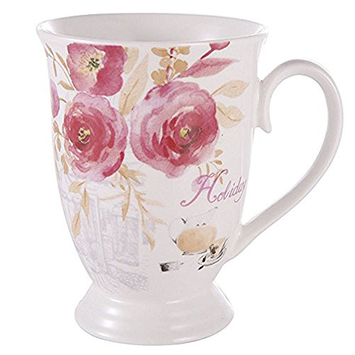 Porcelain New Bone China Coffee Mug Set Large Funny Mug 11oz Rose Espresso Mugs for Coffee Tea - Large China Coffee Mug