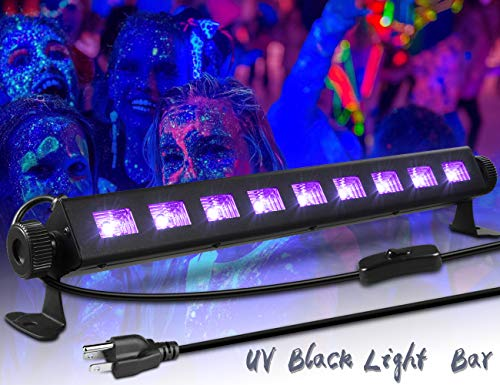 Black Light,ECHTPower 9LED 27W UV LED Bar Fixture,4.3ft Switch Cord and 360° Adjustable brackets black light for Glow in the dark party, Halloween, Disco DJ Poster Tapestry and UV Body Paint