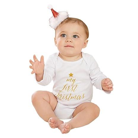 Baby Ropa para mi primer Navidad, janly® Niños Pequeños Carta Pelele Niños Algodón o