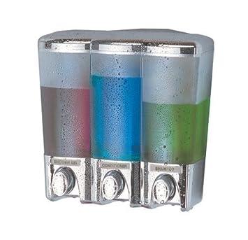 seifenspender wandmontage transparent chrome dreifach dusche seife shampoo gel - Seifenspender Dusche Wandmontage