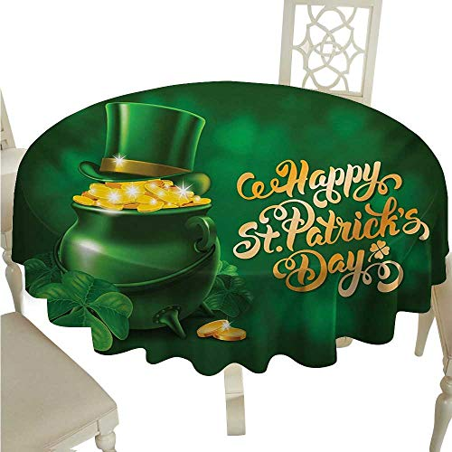 St. Patricks Day Fabric Dust-Proof Table Cover Large Pot of Gold Leprechaun Hat and Shamrocks Greetings 17th March Runners,Gatsby Wedding,Glam Wedding Decor,Vintage Weddings D54