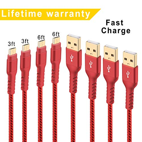 Micro USB Cable Android Charger, Boreguse 4-Pack (2x3ft,2x6ft) Super-Durable Nylon-Braided Fast Sync&Charging Cord for Samsung, Kindle, HTC, Nexus, LG, Xbox, PS4, Smartphones & More - Red