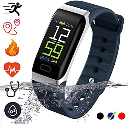 Fitness Tracker Smartwatch - IP68 Waterproof with Pedometer Calorie Counter Heart Rate Monitor Blood Pressure Activity Tracker Smart Bracelet ...