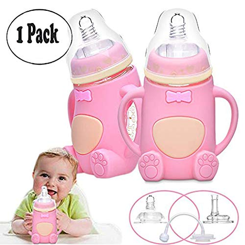 Baby Bottle, Anti-Colic  Glass Bottle with Silicone Sleeve a