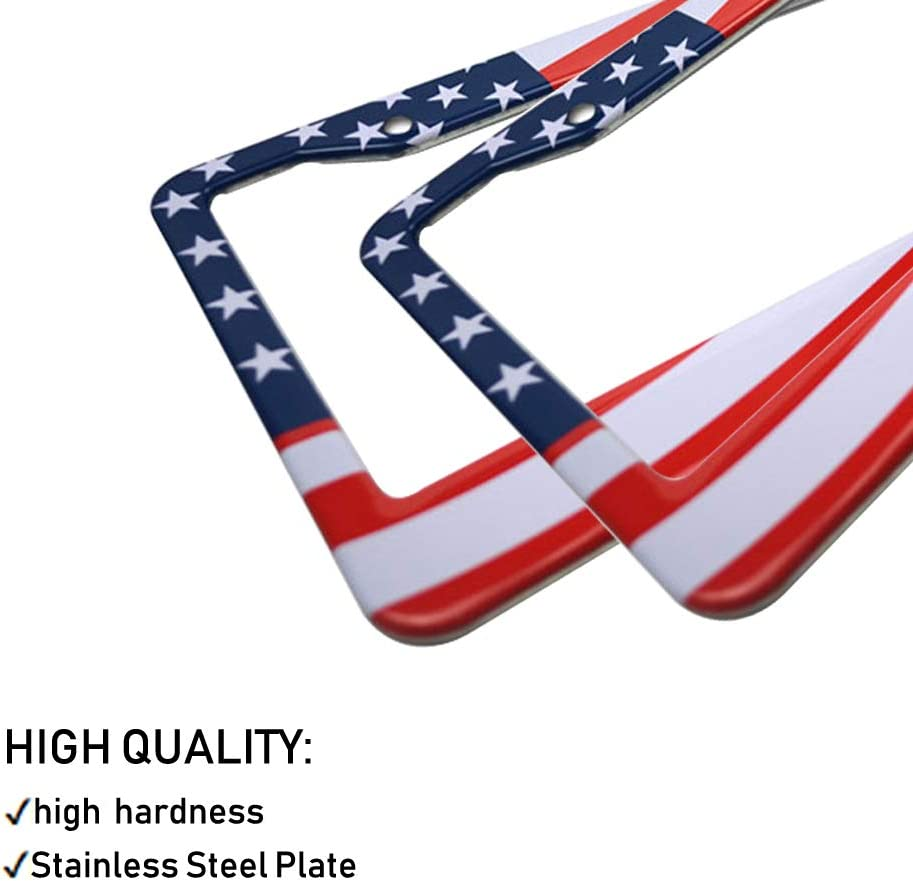 Big Ant License Plate Frame American Flag Design Frames with Hand Held Small USA Nations Flags Matte Stainless Steel License Plate Covers with Free Screws Fasteners Caps 2 Pack