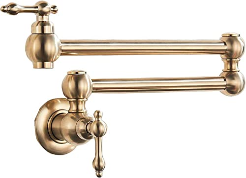 Votamuta Brushed Gold Wall Mounted Single Handle Pot Filler Kitchen Faucet with Double Joint Swing Arm