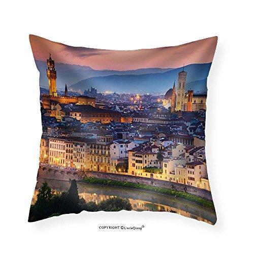 VROSELV Custom Cotton Linen Pillowcase Beautiful sunset over Cathedral of Santa Maria del Fiore (Duomo) Florence Italy - Fabric Home Decor - Duomo Light 1