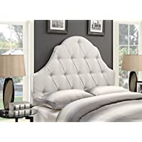 Pulaski Shaped Camel Back Button Tufted Upholstered Headboard, Linen, King