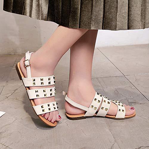 Playa Botas Impermeables Mujer Beige Sandalias para de Moda Alto Sandalias Verano Botas Mujer tacón Zapatos Adulto Bohemia Mujer Zapatos Botas Comodos Planas para POLP fPqBHxFwq