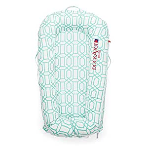 DockATot Deluxe+ Dock (Minty Trellis) - The All in One Baby Lounger, Portable Crib and Bassinet - Perfect for Co Sleeping - Breathable & Hypoallergenic - Suitable from 0-8 months