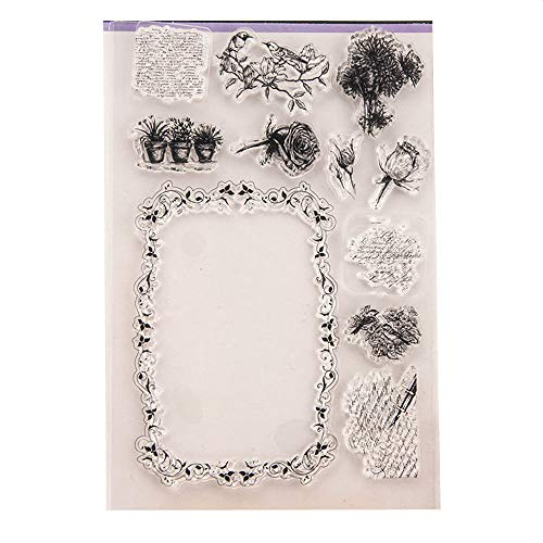 Flowers Rose Daisy Frames Windows Stamp Rubber Clear Stamp/Seal Scrapbook/Photo Album Decorative Card Making Clear Stamps