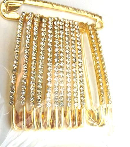 Golden & White Colour Diamond Designer Safety PIN Saree PIN ONE Side of Safety PIN Hijab Sari PIN Women Brooch 1.75 inches - 12 Pack - Comes with Velvet Pouch