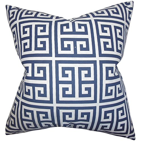 The Pillow Collection EURO-PP-TOWERS-PREMIERNAVY-C100 Paros Greek Key Bedding Sham, Navy Blue, European/26