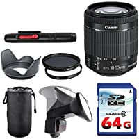 Canon EF-S 18-55mm f/3.5-5.6 IS STM Lens Bundle + Commander UV Filter + Polarizer Filter + 2 In 1 Lens Cleaning Pen + High Speed 64GB Memory Card + Tulip Hood + Manual Flip Flash + Deluxe Lens Case