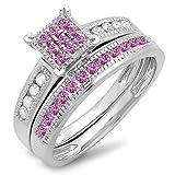 Sterling Silver Round Pink Sapphire & White Diamond Engagement Bridal Ring Matching Band Set (Size 8)