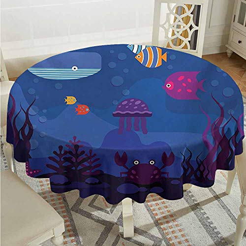 ScottDecor Patio Round Tablecloth Cartoon Underwater World Fish in Aquarium and Whale Crabs Jellyfish Bubbles Coral Blue and Multicolor Outdoor Picnics Diameter 54