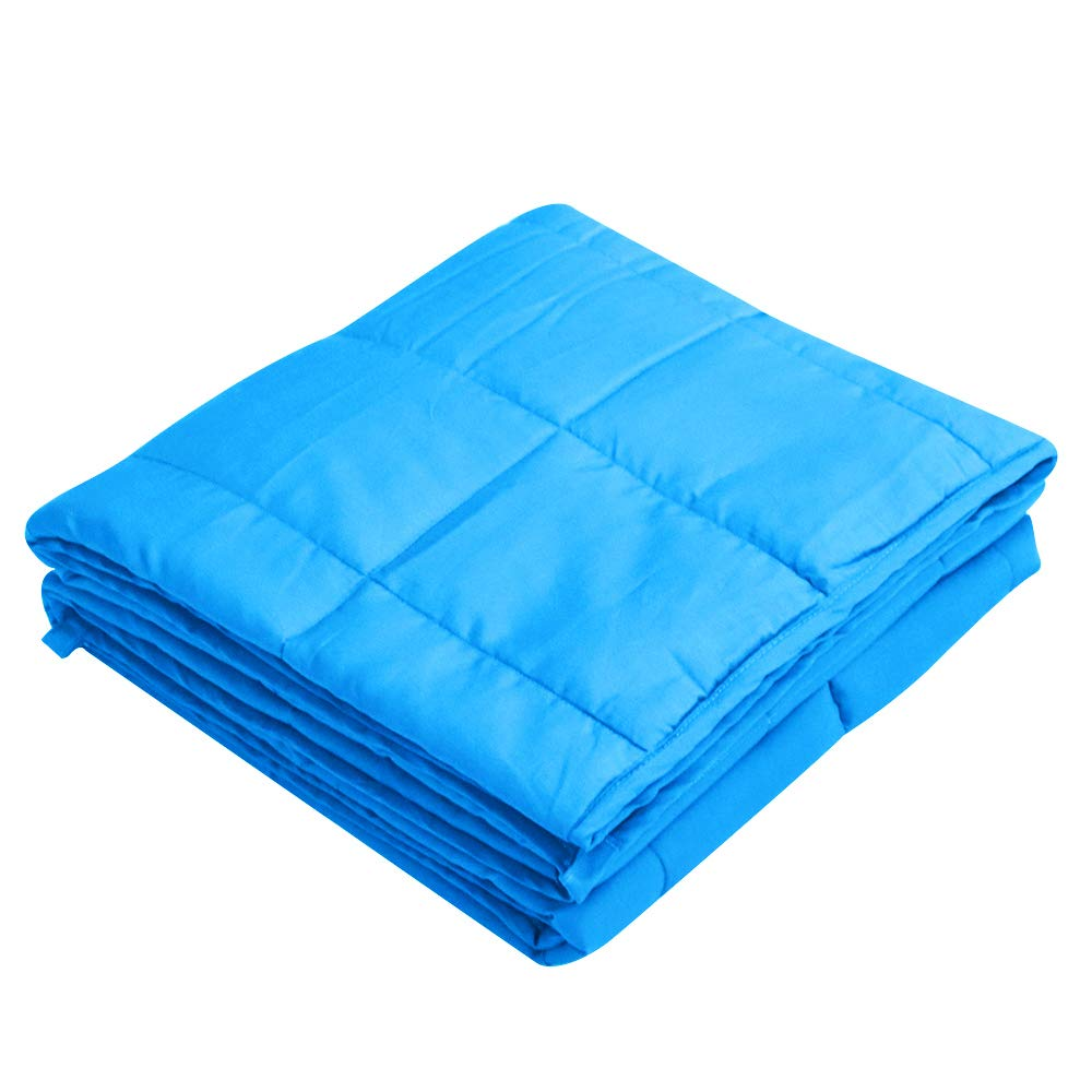 Viki Premium Blue Weighted Blanket (48''x78'', 15lbs for 140 - 160lbs individual) for Girls, Boys, Adults   Help Reduce Stress and Anxiety, Great for Anxiety, Autism, and Sensory Processing Disorder