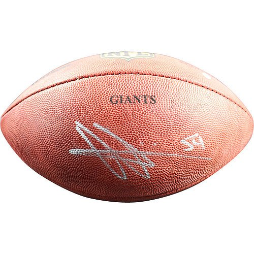 Olivier Vernon Autographed Wilson Duke Official Game Football with GIANTS (Autographed Nfl Duke Game Football)