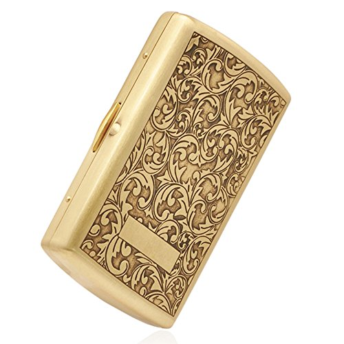 Pure Copper Embossed Arabesque Cigarette Case Holder for 12 Cigarettes (Cigarette Case Pattern) ()