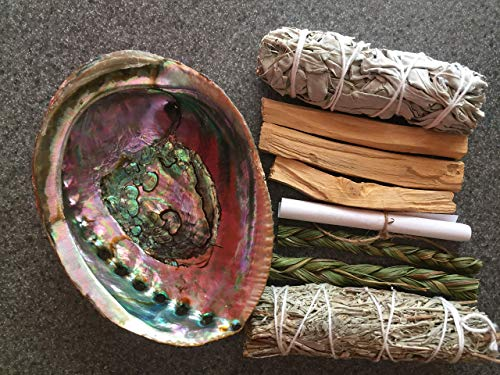 (Smudge Kit/Home Blessing Kit + Rainbow Abalone Shell)
