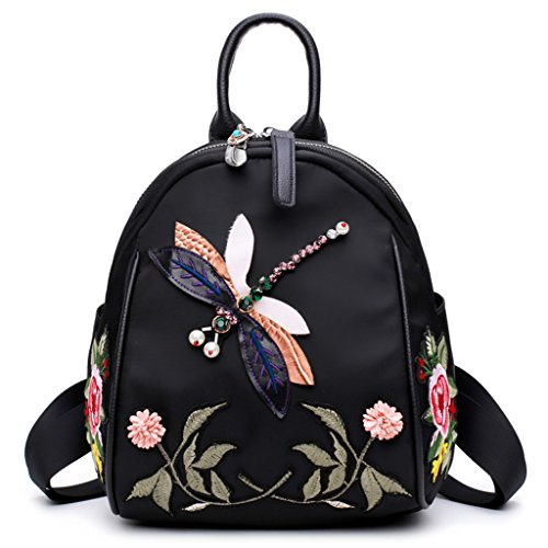 Dabixx - Nylon Backpack With Dragonfly Embroidered Design, Black Color