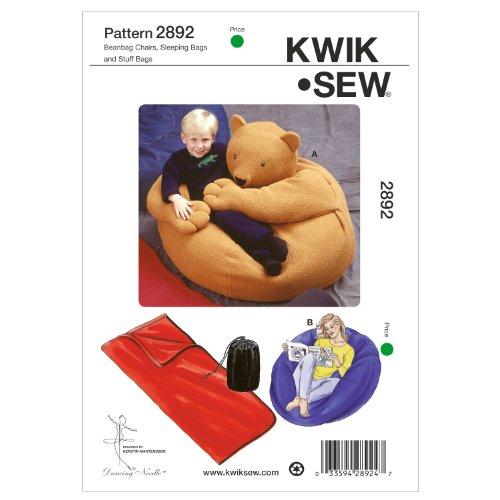Kwik Sew K2892 Beanbag Chairs Sewing Pattern, Sleeping Bags and Stuff Bags Bean Bag Sewing Pattern