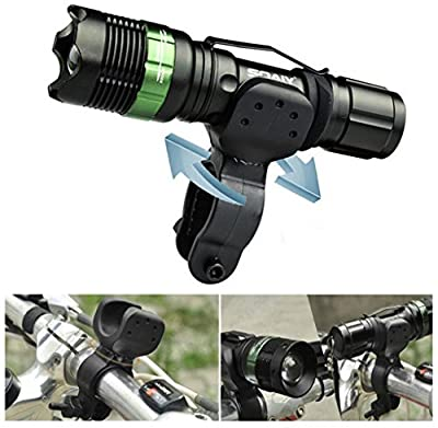 Soaiy Waterproof Adjustable Focus Zoom 3 Mode Brightness Cree 240 Lumens Led Flashlight Torch Light for Camping Hiking Cycling (Rechargeable 18650 Battery, Charger, Bike Mount Included)