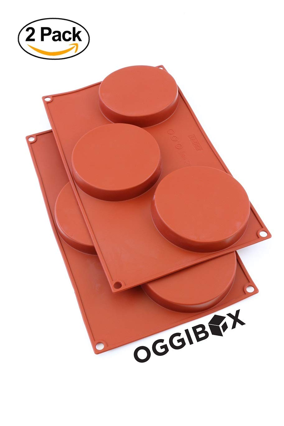 Oggibox 3-Cavity Silicone Disc Mold for Cake, Pie, Custard, Tart and Resin Coaster, Soap, Resin and More Pack of 2