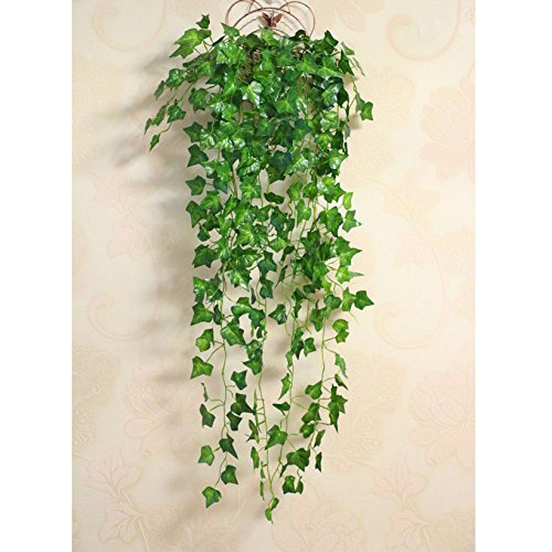 BELUAPI Artificial Vine, Simulation Rattan Wall Hanging Basket Decoration Floral Plastic Rattan for Home Kitchen Party Decorations (Green) ()