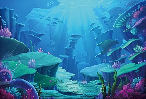 LFEEY 10x8ft Underwater World Photo Backdrop Kids Girl Boy Birthday Party Fairyland Background for Photography Under The Sea Marine Life Coral Reef Photo Studio Props -