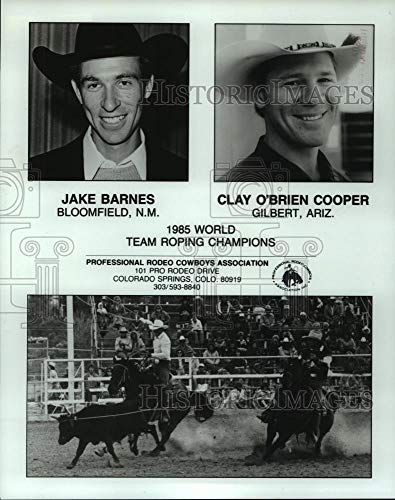 1987 Press Photo Jake Barnes and Clay O'Brien Cooper; World Team Roping Champs (Jake Roping Clay And Team With)