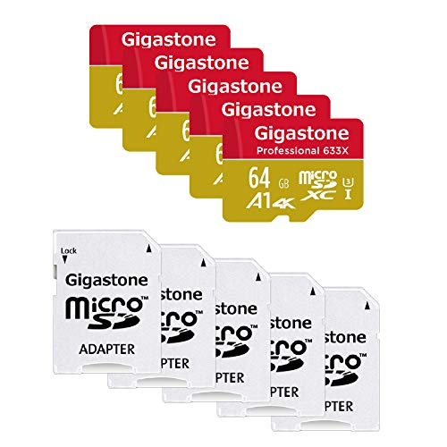 Gigastone 64GB 5-Pack Micro SD Card, Professional 4K Ultra HD, High Speed 4K UHD Gaming, Micro SDXC UHS-I U3 C10 Class 10 95MB/s Memory Card with Adapter