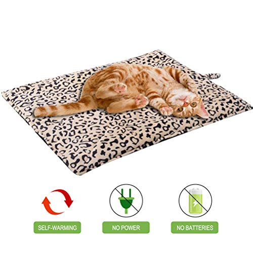 EXPAWLORER Self Heating Cat Pad for Pet, Warming Pet Bed Mat Safety Cat Pad with Leopard Print Great for Puppies and Cats in Cold Weather, Beige (Leopard Cat Bed)