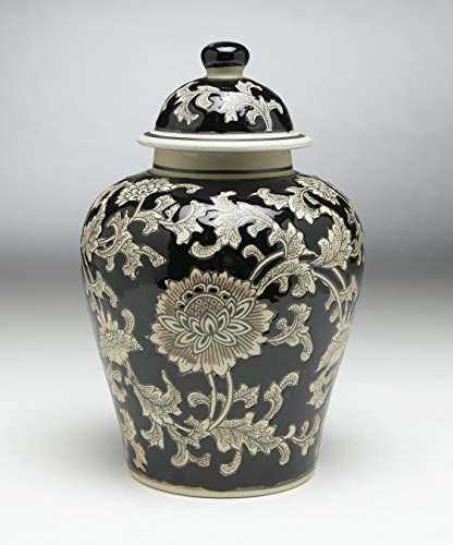(AA Importing 59727 Black and Cream Floral 10 Inch Ginger Jar)