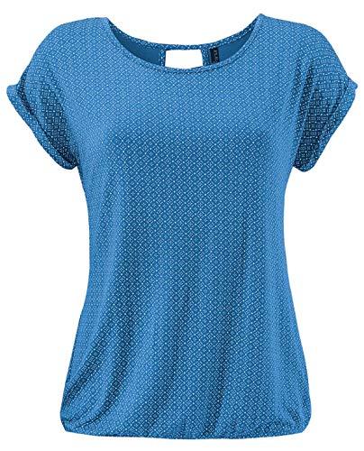 Fleasee Damen T-Shirt Rundhals Kurzarmshirt mit Allover Druck Sommer Bluse Casual Top
