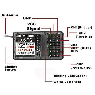 DUMBORC 2.4G 6CH Gyro Inside Receiver X6FG for RC Car Boat for DUMBORC X4 X6 Transmitter (X6FG): Toys & Games