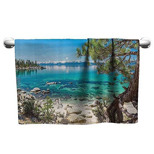 DUCKIL Fancy Hand Towels Outdoor Room Lake Tahoe Snowy Mountain Reflection in Water Rock Shore Romantic View Printed Bath Towel 27 x 14 inch Turquiose Blue Green Beige
