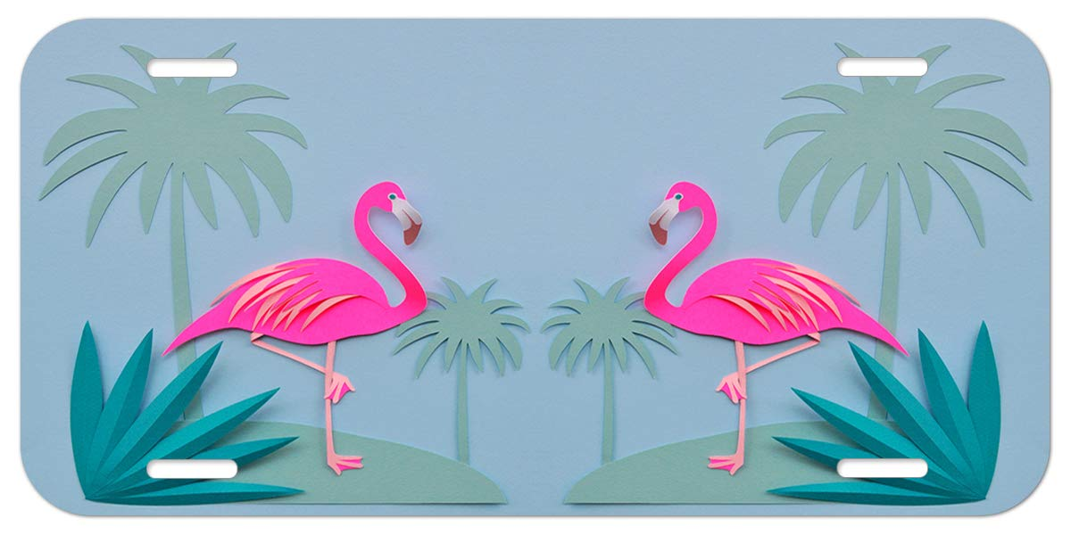 Pink XiongYe Chen Durable Aluminum License Plate 12 X 6Metal Personalized car tag Beautiful Flamingos Decorative Front Plate Car Tag 4 Holes