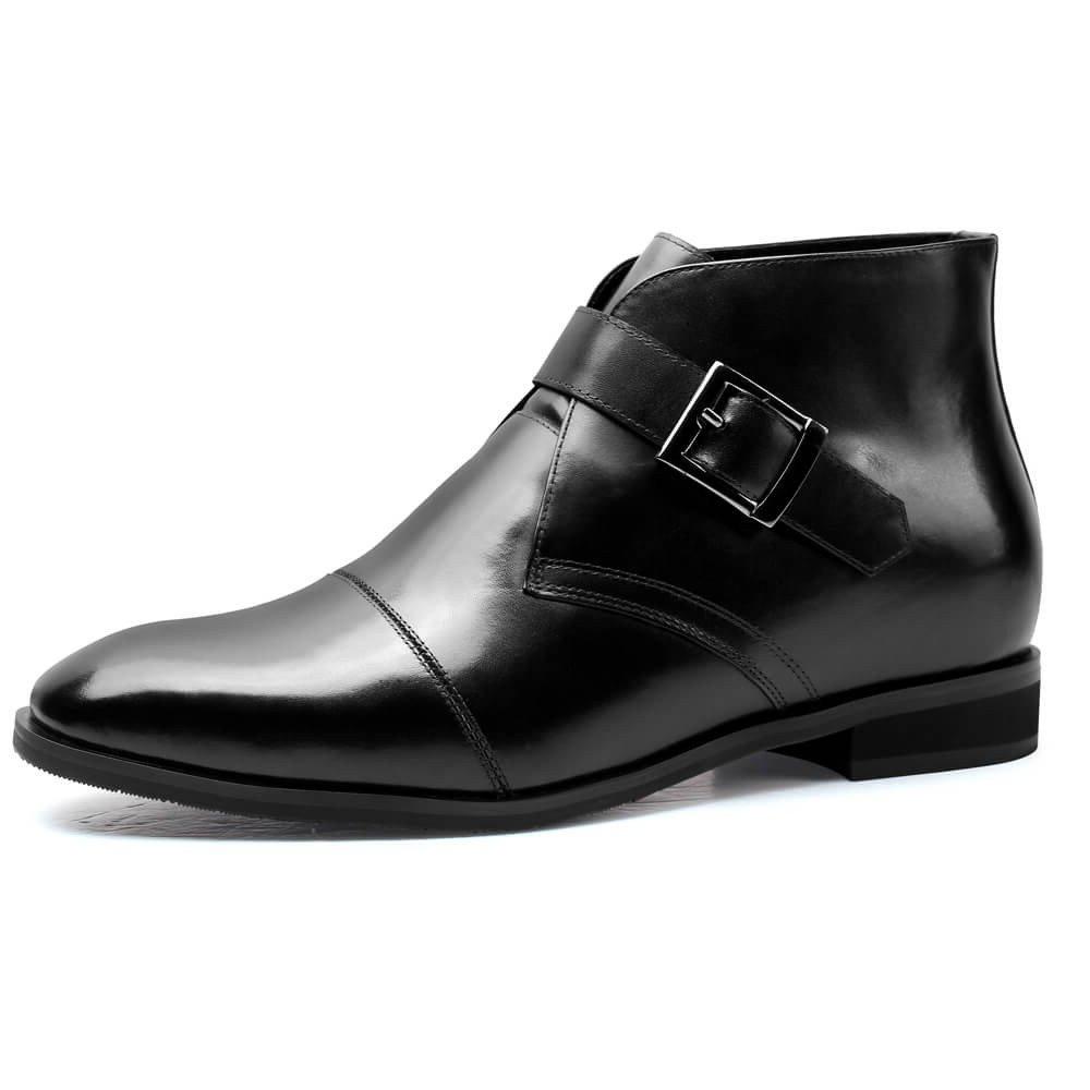 CHAMARIPA Men's Black Leather Hight Increasing Shoes Chukka Boot H72B11K102D US 10